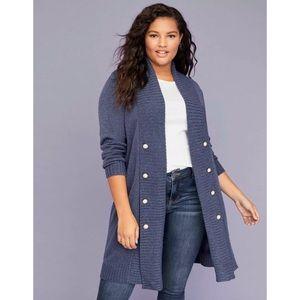 💜Lane Bryant Blue Pearl Long Cardigan Sweater